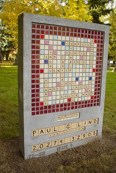Scrabble headstone -  kinda creepy