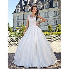 A-line Wedding Dress Floor-length Taffeta Lace Scoop with Beading – GBP £ 122.12