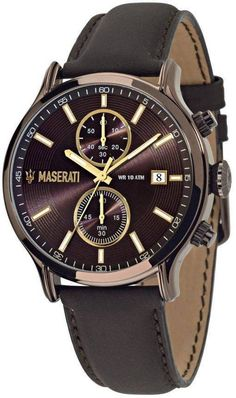 Maserati Epoca Men Watch is a quartz movement, chronograph man watch that also features sandy brown dial with luminous hands and markers. Sport Watches, Cool Watches, Watches For Men, Maserati Levante, Maserati Ghibli, Maserati Car, Maserati Quattroporte, Online Watch Store, Bracelet Cuir