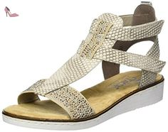 Rieker 63661, Sandales Bout Ouvert Femme, Beige (Beige/Kiesel/Beige/Argento / 60), 38 EU - Chaussures rieker (*Partner-Link)