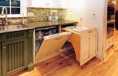 Hidden appliances are a great way to give a cleaner look to a kitchen. Compactors, dishwashers, garbage cans and even the fridge can be consealed into the cabinets.