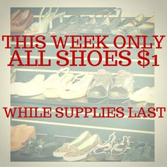 Need new shoes? Every pair we have is only $1 this week until they're gone! #thriftshop #petersburgva #shoes #buylocal #colonialheights #chesterfield