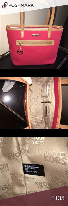 MK canvas Kempton red tote NEW MK red Kempton medium tote. Zipper pockets MK logo. Authenticity tags shown Michael Kors Bags Totes