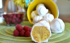 Lemon Cake Balls with a Raspberry White Chocoloate Covering