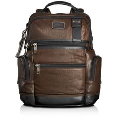 Tumi Knox Backpack ($595) ❤ liked on Polyvore featuring men's fashion, men's bags, men's backpacks, dark brown and mens leather backpack