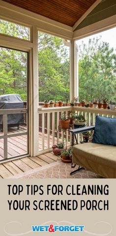 Top tips for cleaning your screened-in porch. Soft Broom, Canvas Awnings, Cleaning Screens, Porch Flooring, Covered Garden, Screened In Porch, Garden Structures, Mold And Mildew, Diy Home Improvement