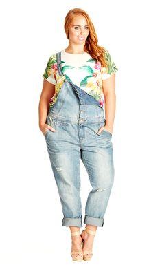 City Chic Button Up Jean Overall - Women's Plus Size Fashion - City Chic Your Leading Plus Size Fashion Destination #citychic #citychiconline #newarrivals #plussize #plusfashion