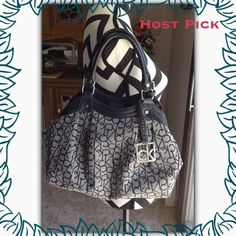 """Calvin Klein Monogram Hobo Purse White/Navy CK logo monogram scoop-style hobo purse with navy trim and silver colored metal accents. 1 outside zip pocket. Interior has 1 zip pocket and 2 slip pockets.  Approx. size is 13"""" x 10"""" x 3""""  PayPal  Trades  Holds Calvin Klein Bags Hobos"""