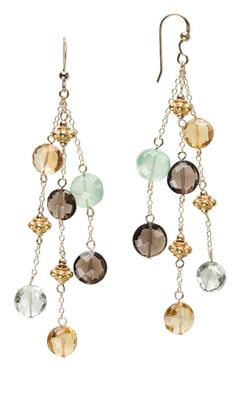 Earrings with Citrine Gemstone Beads and Smoky Quartz Beads - Fire Mountain Gems and Beads