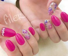 110 Short Acrylic Nail Design Ideas-Click Here for Larger Image: pink nails; nail designs flower; nail jewlery; squoval nails; matte nails; acrylic nails; #nails; #nailart; #nailpolish; #acrylicnails; #naildesigns; #nailartdesigns; #nailsart; #AcrylicNailsStiletto
