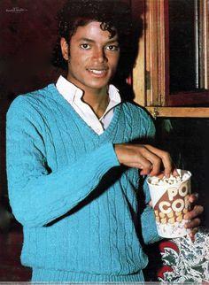 Michael Jackson having some popcorn