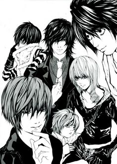 Death Note - L /Lawliet, Light Yagami, Mello / Mihael Keehl, Near / Nate River, Mikami and Matt / Mail Jeevas (I like that there's no Misa.)