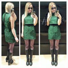 Topshop Green Layered Lace Dress, Dr. Martens Black Leather Heeled Biker Boots, Star By Julien Mac Donald Black Faux Fur Cropped Jacket
