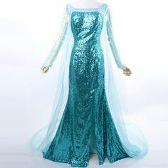 Movie Frozen Snow Queen Elsa Costume adult Princess cosplay halloween costumes for women fantasy women Dress custom-in Costumes from Apparel...