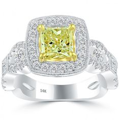 2.05 Carat Fancy Yellow Radiant Cut Diamond Engagement Ring 14k Vintage Style - Thumbnail 1