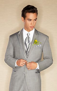 He's a modern #groom so work with a modern fit like this Calvin Klein Gray Two-Button Super 110s Satin Edge Peak Lapel