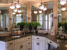 Tropical brown granite with cream cabinets and great lighting Cream Cabinets, Granite Bathroom, Brown Granite, Bathroom Accessories, Beautiful Homes, Sweet Home, Bathroom Ideas, Shower Ideas, Bathrooms