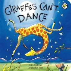 The bestselling Giraffes Can't Dance is now a board book!Giraffes Can't Dance is a touching tale of Gerald the giraffe, who wants nothing more than to dance. With crooked knees and thin legs, it's harder for a giraffe than you would think. Great Books, My Books, Books To Read, Amazing Books, Guy, Gerald The Giraffe, Notice And Note, Giraffes Cant Dance, Dance Books