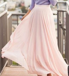 Chic High Waist Pale Pink Chiffon Skirt For Women Maxi Skirt Outfits, Winter Skirt Outfit, Maxi Skirts, Dress Skirt, Long Chiffon Skirt, Chiffon Fabric, Pink Maxi, The Dress, Trending Outfits