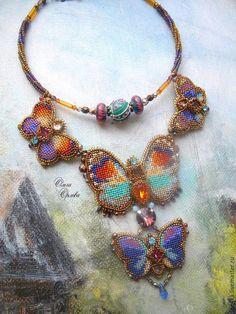 Купить Лето прошло - разноцветный, бабочки, ольга орлова, колье с бабочками, лэмпворк