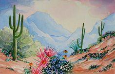 Desert landscape with saguaros & ocotillos