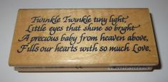 """Twinkle Poem Rubber Stamp Tiny Light Little Eyes Shine Bright Precious Baby 4"""" #Stampendous #Poem"""