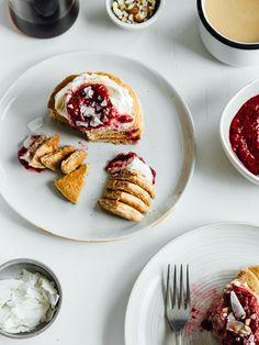 Coconut + chai spiced pancakes with raspberry compote