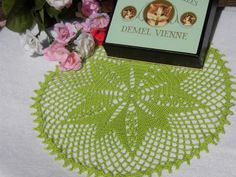 """I sell this doily on my Etsy shop """"YuminaCafe"""" Link in my profil. Kawaii Doily,Crochet doilies,Wedding doily,Dollhouse Rug,Dresser mat,Table center,Table topper,Green,Round doily / 8.7""""(22cm) - #d34 by YuminaCafe on Etsy"""