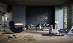 idée-peinture-salon-neutre-mur-brique-noir-fauteuil-anthracite-cheminée.jpg (750×444)