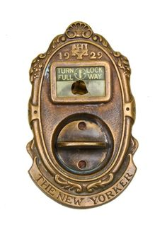 Urban Remains Chicago :: original c. 1929 ornamental cast bronze new yorker hotel guest room door privacy finger latch with backplate - Historic Building Hardware