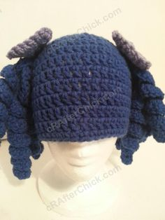 Ravelry: Arthritis Awareness Blue Curly Pigtail Beanie pattern by Niki Wyre Crochet Beanie Hat, Crochet Cap, All Free Crochet, Beanie Pattern, Crochet Baby Hats, Crochet For Kids, Knitted Hats, Crochet Wigs, Baby Knitting