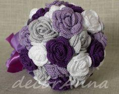 Purple wedding bouquet - Eco flowers - rustic wedding bouquet - unique bridal bouquet