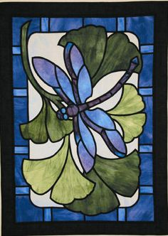 stained glass patterns for beginners | Dragonfly Paradise Stained Glass Quilt Pattern by Three Swans Studios