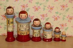 Spool Dollies Vintage Wood Wooden Spool Doll sewing thread Corticelli Kitten