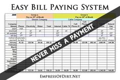 Super easy bill paying system to keep your expenses organized and never miss a payment   Household Organization