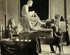 https://flic.kr/p/aCsUhE | Max Klinger at work on Beethoven sculpture, c.1902, photographer unknown