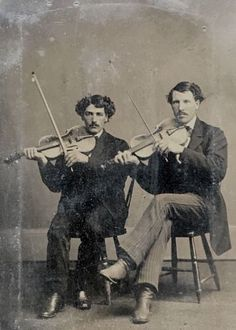 1-6-PLATE-TINTYPE-2-CLASSICAL-VIOLINISTS-POSED-WITH-THEIR-MUSICAL-INSTRUMENTS
