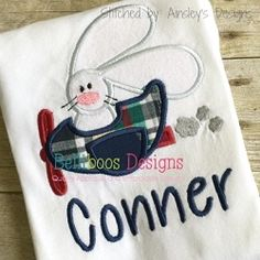 Bunny in Plane Applique - 4 Sizes!   What's New   Machine Embroidery Designs   SWAKembroidery.com Belliboos