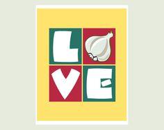 #Kitchen Art Print: Love with Garlic