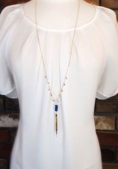 Mod Tassel Necklace with Royal Blue Czech Glass Accent Beads by niccoletti®