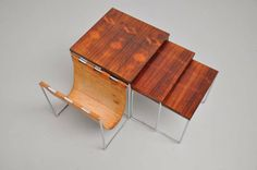 Rosewood Nesting Tables 1960 in the manner of Poul Kjaerholm | From a unique collection of antique and modern nesting tables and stacking tables at http://www.1stdibs.com/furniture/tables/nesting-tables-stacking-tables/