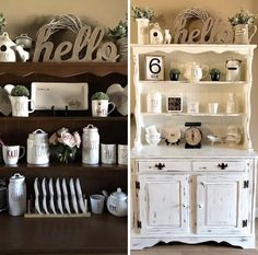 My Before And After Hutch Photos! I Chalk Painted And Distressed And  Changed The Rae Dunn Decor To All Black And White With A Pop Of Green. Iu0027m  In LOVE!!!