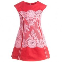Little Marc Jacobs Red Cotton and Lace Dress with Neon Pink Trim  at Childrensalon.com