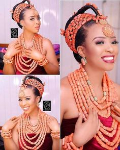 Edo bridal look. ~DKK ~African fashion, Ankara, kitenge, African women dresses, African prints, African men's fashion, Nigerian style, Ghanaian fashion.