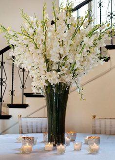 Flower Arrangements In Tall Glass Vases. Artificial Flower Arrangements, Wedding Flower Arrangements, Artificial Flowers, Wedding Flowers, Table Arrangements, Tall Floral Arrangements, Gladiolus Wedding, Gerbera Wedding, Tall Flowers