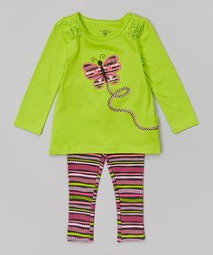 Lime Butterfly Tunic & Stripe Leggings - Infant, Toddler & Girls by Kids Headquarters #zulily #zulilyfinds