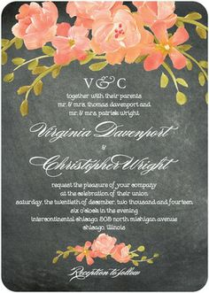 Chalkboard Floral - Signature White Wedding Invitations - Coloring Cricket - Orange Sherbet - Orange : Front