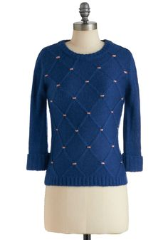 In Due Coursework Sweater by Tulle Clothing - Blue, Pink, Knitted, Long Sleeve, Casual, Fall, Winter, Mid-length