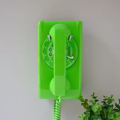 Your place to buy and sell all things handmade Rotary wall phone lime green rotary wall phone vintage wall Colorfull Wallpaper, Green Wallpaper, Photo Wall Collage, Picture Wall, Green Theme, Green Colors, Matcha, Green Pictures, Wall Pictures