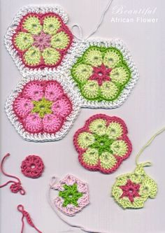 Crochet African Flower.  Crochet Pattern    Abbreviations:  sl knot = slip knot  st = stitch  ss = slip stitch (to fasten)  ch = chain  sc = single crochet  dc = double crochet  fo = fasten off  Rnd = round    Pattern:    Base Round – sl knot, ch 6, ss into first ch to make a ring.  Rnd 1 – ch 3, 1 dc, ch1, *2 dc, ch1, * repeat until you have six spaces and six 2dc. ss to the 3rd chain of the beginning round. fo  Rnd 2 – Change color: Start in a space. ch 5, 2 dc in same space, *ch1, 2 dc…